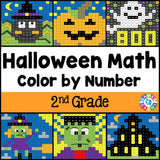 Halloween Math Color-by-Number - 2nd Grade - Games 4 Gains