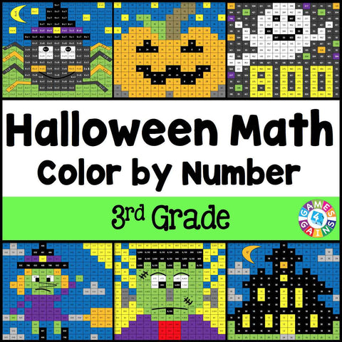 Halloween Math Color-by-Number - 3rd Grade - Games 4 Gains