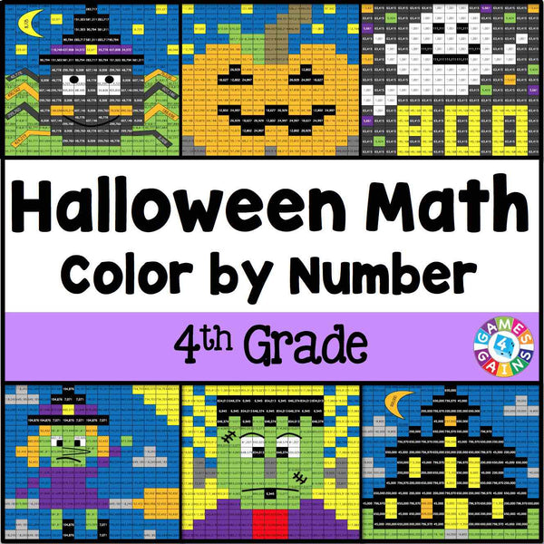 Halloween Math Color By Number 4th Grade Games 4 Gains