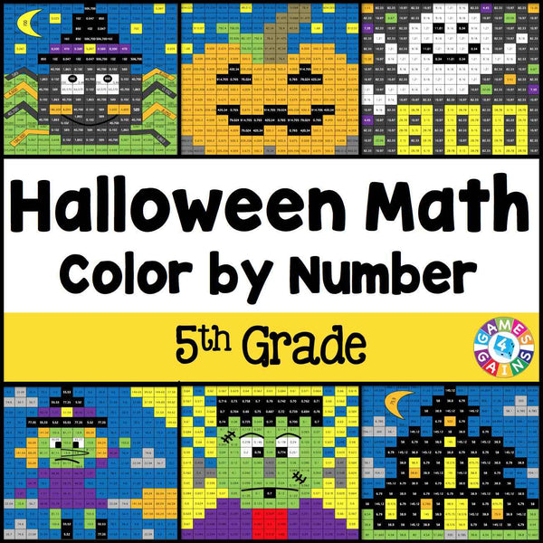 Halloween Math ColorbyNumber 5th Grade Games 4 Gains