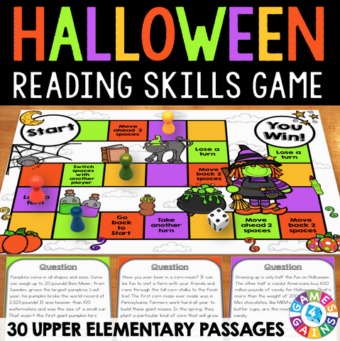 Halloween Reading Comprehension Board Game - Games 4 Gains  - 1