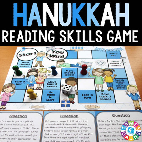 Hanukkah Reading Comprehension Board Game - Games 4 Gains