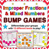 Mixed Numbers and Improper Fractions Bump Games - Games 4 Gains  - 1