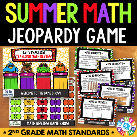 Jeopardy Math Review Game - 2nd Grade - Games 4 Gains  - 1