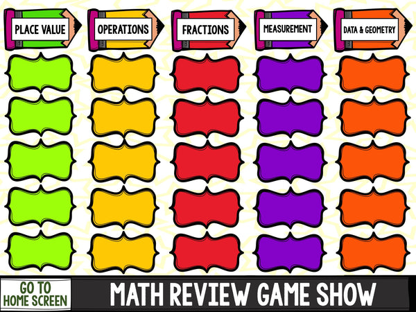 jeopardy math review game  grade games  gains