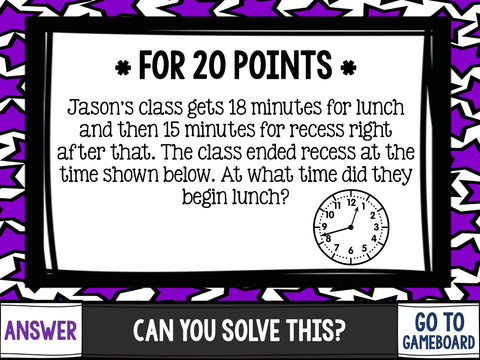Jeopardy Math Review Game 3rd Grade