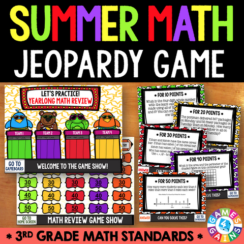 Jeopardy Math Review Game - 3rd Grade - Games 4 Gains  - 1