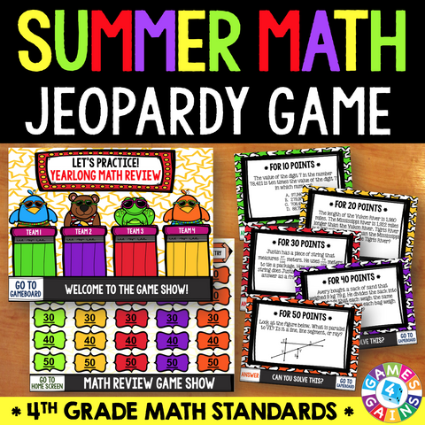 Jeopardy Math Review Game - 4th Grade - Games 4 Gains  - 1