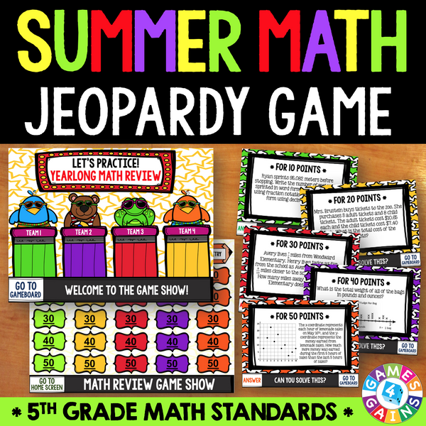 Jeopardy Math Review Game - 5th Grade – Games 4 Gains