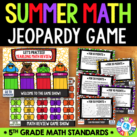 Jeopardy Math Review Game - 5th Grade - Games 4 Gains  - 1