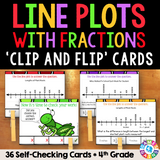 Line Plots with Fractions 'Clip and Flip' Cards - Games 4 Gains  - 1