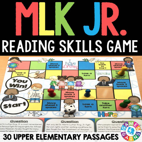 Martin Luther King Jr. Reading Comprehension Board Game - Games 4 Gains  - 1