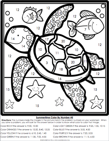 Color By Number Math Worksheets