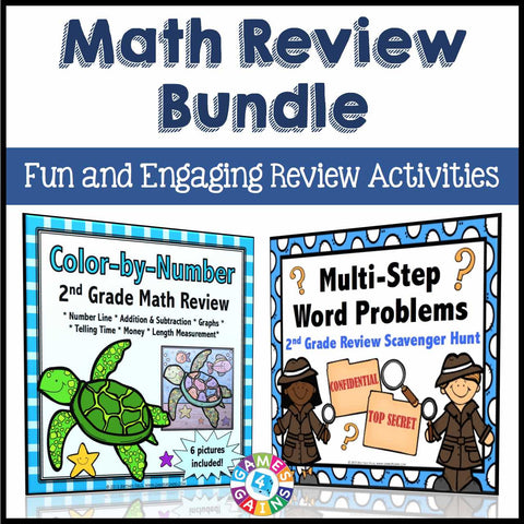 Math Review Activities Bundle for 2nd Grade - Games 4 Gains