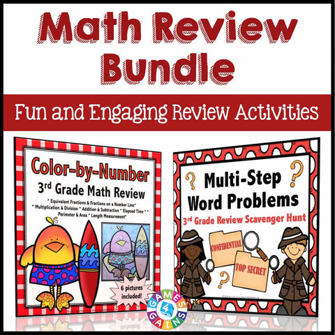 Math Review Activities Bundle for 3rd Grade - Games 4 Gains
