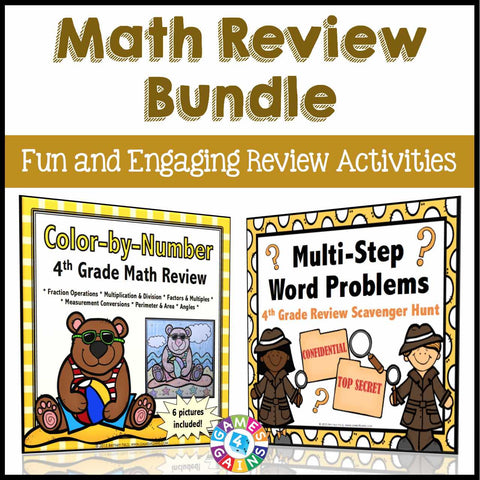 Math Review Activities Bundle for 4th Grade - Games 4 Gains