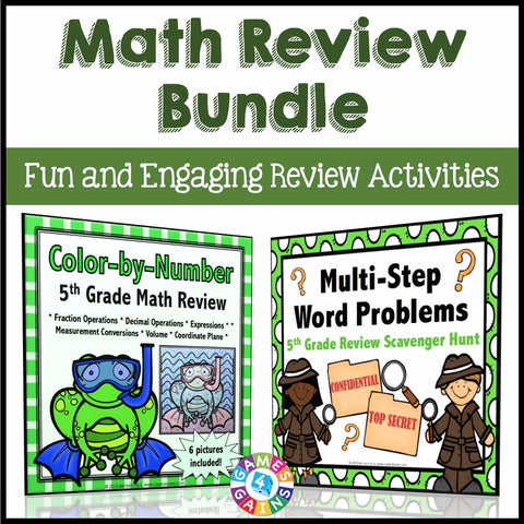 Math Review Activities Bundle for 5th Grade - Games 4 Gains