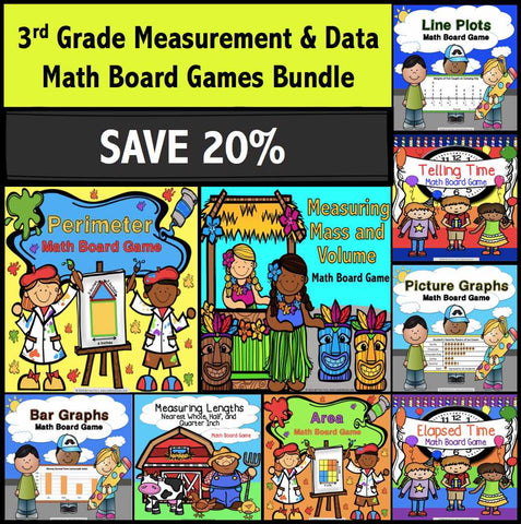 3rd Grade Measurement and Data Math Games Bundle - Games 4 Gains
