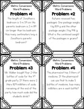 Metric Measurement Conversions Word Problem Cards (4th Grade) - Games 4 Gains  - 2