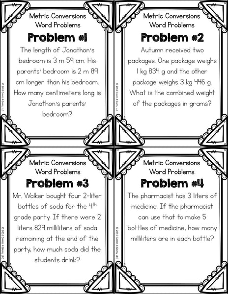 Metric Measurement Conversions Word Problem Cards (4th