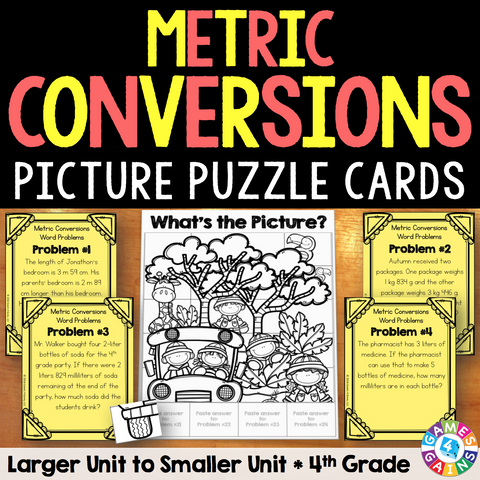 metric measurement conversions word problem cards 4th grade games 4 gains. Black Bedroom Furniture Sets. Home Design Ideas