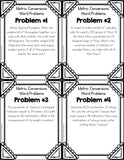 Metric Measurement Conversions Multi-Step Word Problems Cards - Games 4 Gains  - 2