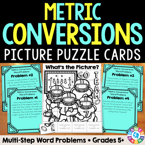 Metric Measurement Conversions Multi-Step Word Problems Cards - Games 4 Gains  - 1