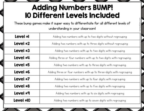 Multi-Digit Addition Bump Games