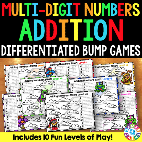 Multi-Digit Addition Bump Games - Games 4 Gains  - 1