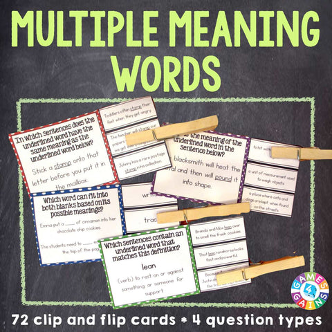 Multiple Meaning Words 'Clip and Flip' Cards - Games 4 Gains  - 1