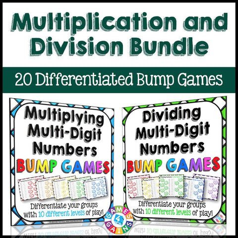 Multiplication and Division Bump Games Bundle - Games 4 Gains