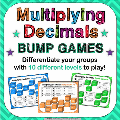 Multiplying Decimals Bump Games - Games 4 Gains  - 1