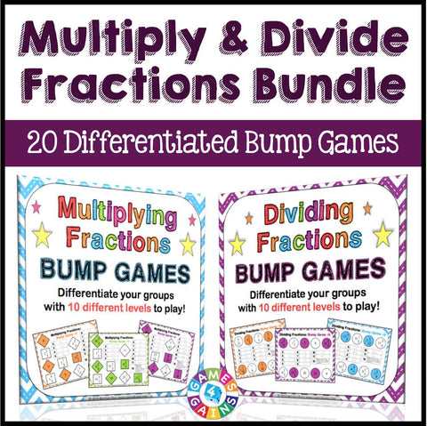 Multiplying and Dividing Fractions Bump Games Bundle - Games 4 Gains