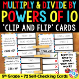 Multiplying and Dividing by Powers of 10 'Clip and Flip' Cards - Games 4 Gains  - 1