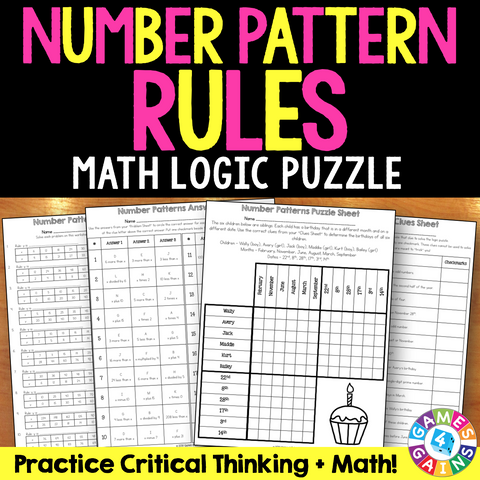 Number Pattern Rules Logic Puzzle (5.OA.3) - Games 4 Gains  - 1