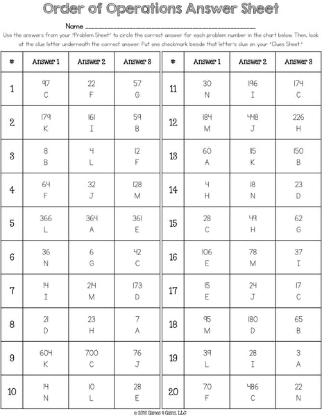 Order of Operations Logic Puzzle (5.OA.1) – Games 4 Gains