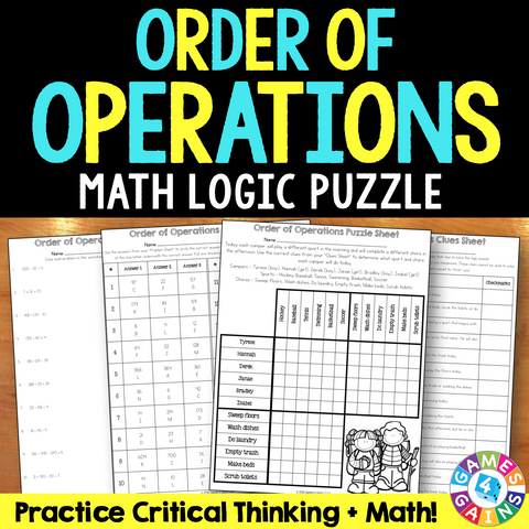 Order of Operations Logic Puzzle (5.OA.1) - Games 4 Gains  - 1