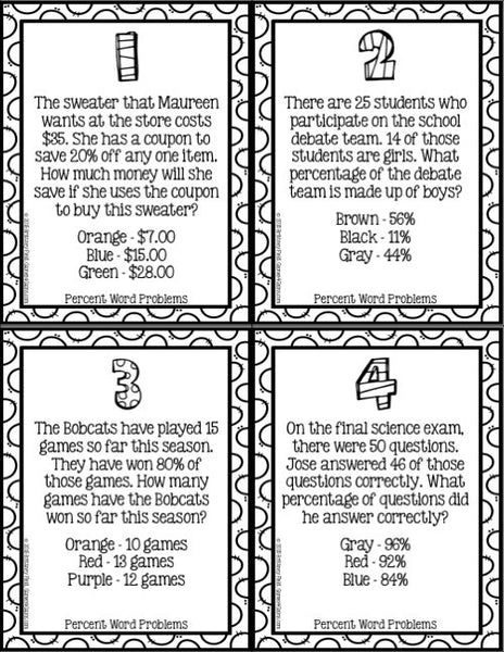 Percents Word Problems Color-by-Number Cards
