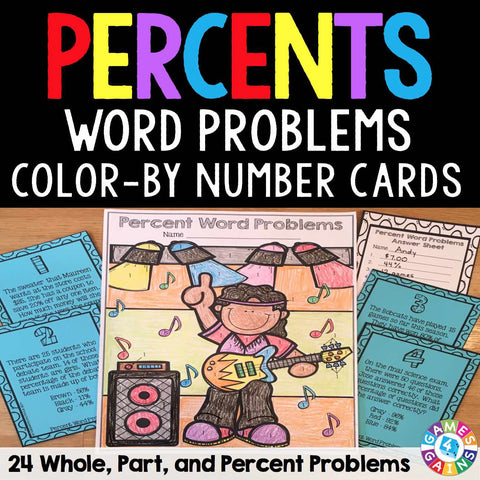 Percents Word Problems Color-by-Number Cards - Games 4 Gains  - 1