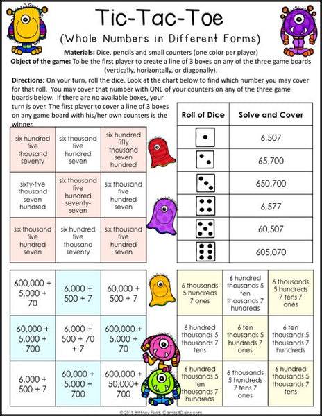 Place Value Games for 4th Grade u2013 Games 4 Gains