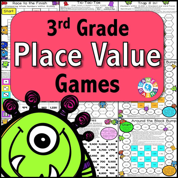 photo about Printable Place Value Game known as Desired destination Charge Video games for 3rd Quality