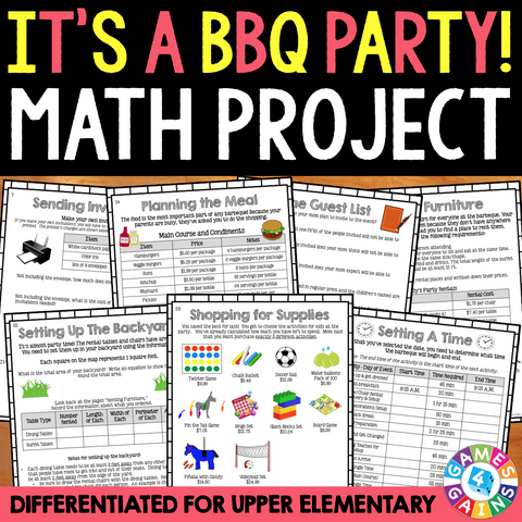 Planning a BBQ Party {Differentiated} Math Project
