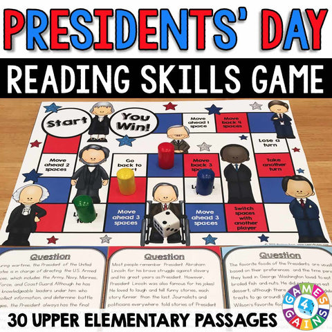 Presidents' Day Reading Comprehension Board Game - Games 4 Gains