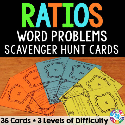 Ratios Word Problems Scavenger Hunt Cards - Games 4 Gains  - 1