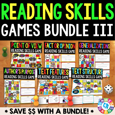 Reading Skills Games Bundle III (Point of View, Author's Purpose, & More!) - Games 4 Gains