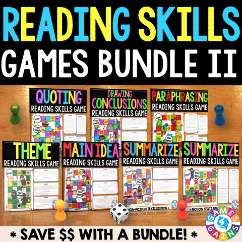 Reading Skills Games Bundle II (Theme, Main Idea, Summarizing, & More!) - Games 4 Gains