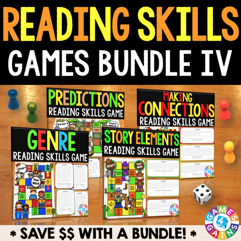 Reading Skills Games Bundle IV (Genre, Story Elements, Predictions, & More!) - Games 4 Gains