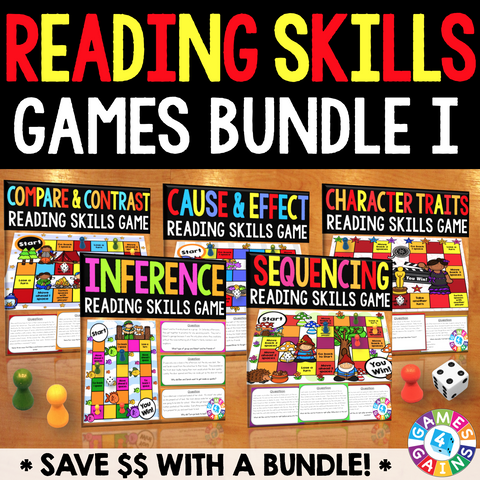 Reading Skills Games Bundle I (Inference, Sequence, Cause & Effect, & More!) - Games 4 Gains