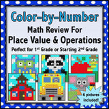 Back to School Color by Number - 1st/2nd Grade - Games 4 Gains  - 1