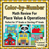 Back to School Color-by-Number - 3rd/4th Grade - Games 4 Gains  - 1